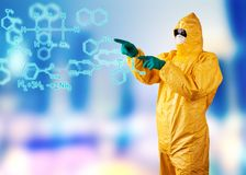 Laboratory man drawing digital scheme Stock Photos