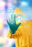 Laboratory man drawing digital scheme Royalty Free Stock Photography