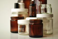 Laboratory, medical and cosmetic jars and bottles Royalty Free Stock Photo