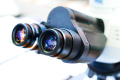 Laboratory microscope eyepieces. Royalty Free Stock Photography