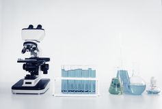 Laboratory microscope of healthcare and medicine researcher scientist with lab equipment tools on the table., Science technology stock image