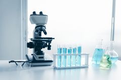 Laboratory microscope of healthcare and medicine researcher scientist with lab equipment tools on the table., Science technology stock images