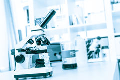Laboratory microscope with  image cells on the monitor Stock Photos