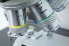 Laboratory microscope lens Royalty Free Stock Photo
