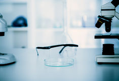 Laboratory microscope lens. Royalty Free Stock Photo