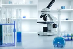 Laboratory microscope lens.modern microscopes in a Royalty Free Stock Image