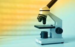 Laboratory microscope lens.modern microscopes in a Royalty Free Stock Photos