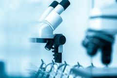 Laboratory microscope lens.modern microscopes in a lab. Stock Images