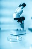Laboratory microscope lens.modern microscopes in a lab. Royalty Free Stock Images