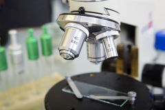 Laboratory Microscope. Scientific and healthcare research background. Stock Images