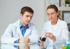 Laboratory observations. Two scientists looking at glass flask with liquid in laboratory Royalty Free Stock Photos
