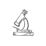 Laboratory optical microscope icon sketch Royalty Free Stock Images