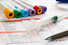 Laboratory paper and utensils for blood test Stock Image