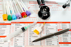 Laboratory paper and utensils for blood test Royalty Free Stock Images