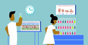 Laboratory people man and woman research test of blood DNA vs RNA education infi graphic illustration. stock illustration