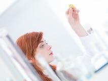 Laboratory pills analysis Royalty Free Stock Image
