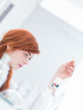 Laboratory pills examination Royalty Free Stock Photos