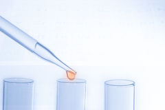 Laboratory pipette with drop of liquid over glass test tubes Stock Images
