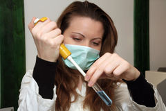 Laboratory research. Ing of influenza or some other possible disease Stock Photo