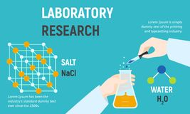 Laboratory research concept banner, flat style vector illustration
