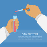 Laboratory research illustration. Laboratory research or testing concept. Doctor medicine holding test tube and pipette in hands. Science Experiment or Royalty Free Stock Photo