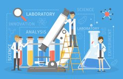 Laboratory research and the science experiment concept. Laboratory research and science experiment concept. Idea of education and innovation. Scientific stock illustration
