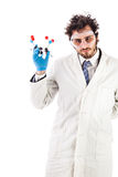 Laboratory researcher holding tnt molecule structure Royalty Free Stock Images