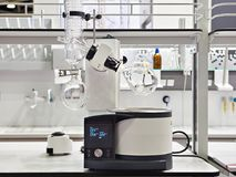 Laboratory rotary evaporator with chemical preparation in flask. Laboratory rotary evaporator with chemical preparation in a flask Stock Photos