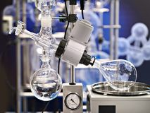 Laboratory rotary evaporator for chemistry. Laboratory rotary evaporator with a flask for chemistry Stock Image