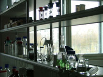 Laboratory's shelves Stock Photography