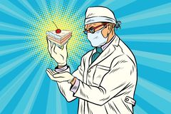 Laboratory scientist analyzes a piece of cake Royalty Free Stock Images