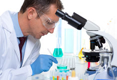 Laboratory scientist working at lab with test tubes Royalty Free Stock Photography