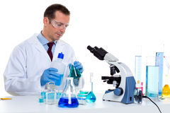 Laboratory scientist working at lab with test tubes Royalty Free Stock Image