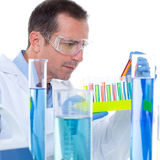 Laboratory scientist working at lab with test tubes Stock Photos