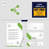 Laboratory share logo template and stationery vector illustration