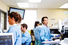 Laboratory staff performing daily tasks Royalty Free Stock Image