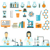 Laboratory symbols science and chemistry icons vector. Stock Images