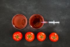 Laboratory syringe equipment with red tomatoes Stock Images