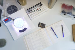 Laboratory table top view. Laboratory table view from above, study petri dishes Royalty Free Stock Photo