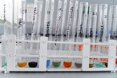 Laboratory test for determination of carbohydrates and proteins. Laboratory test for carbohydrate and protein determination including lugol for starch, biuret royalty free stock images