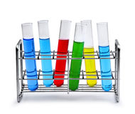 Laboratory test tube rack with liquid samples Stock Photo