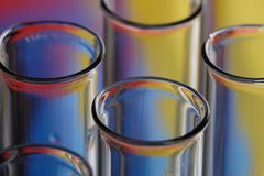 Laboratory Test Tubes. A set of laboratory test-tubes on a colorful background Royalty Free Stock Photography