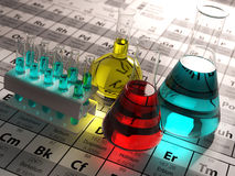 Laboratory test tubes and flasks with colored liquids on the per. Iodic table of elements. Science chemistry concept.  3d Stock Image