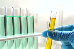 Laboratory Test Tubes in Science Research Lab. Scientist hand holding a laboratory glass test tube filled with yellow liquid near a rack of chemistry tubes for Royalty Free Stock Images