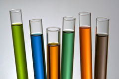 Laboratory Test Tubes in Science Research Lab. Laboratory lass test tubes filled with assorted colors liquid for an experiment in a science research lab Stock Images