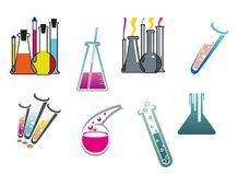 Laboratory and test tubes set Royalty Free Stock Images