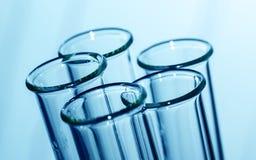 Laboratory test tubes.test tube on blue background. Royalty Free Stock Photography