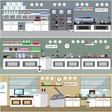 Laboratory vector illustration. Science lab interior. Biology, Physics and Chemistry education concept. Scientific Stock Image