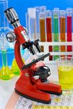 Laboratory ware and microscope Stock Images