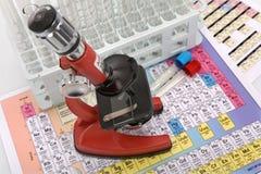 Laboratory ware and microscope Stock Photo